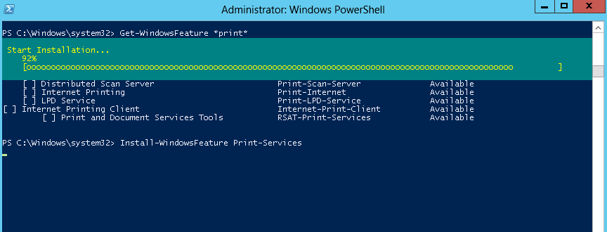 Using the Server Manager Module in PowerShell to Install